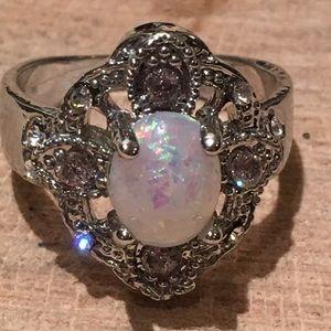 Jewelry - {Sz 7, 8} Opal, Lilac Zircon, and CZ Filigree Ring